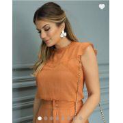Blusa Ariane  Viscose + Polianida Texturizada C/Detalhes em Renda