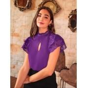 Blusa Vivian Crepe Mix Renda Aviamento