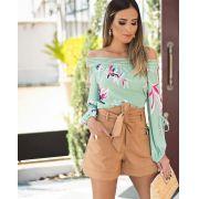 Blusa Yasmim  Crepe Floral Ombro a Ombro