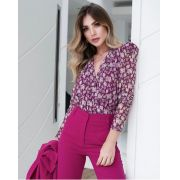 Body Bruna Tule MG/Longa Estampado floral