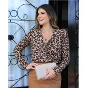 Body Karina Animalprint Manga Longa