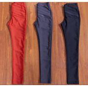 Calça Morina Skinny Power Camadas e Ziper Cores Cinza Chumbo, Preta, Marimho e Militar