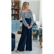 Calça Unique Pantalona Crepe 6% elastano + Cinto