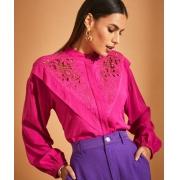 Camisa Alessandra Viscose Detalhe Recorte Ombro Bordado