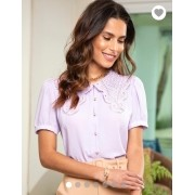 Camisa Ariane Crepe Gola Renda