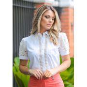 Camisa Bianca Tricoline com Detalhe em Renda E Laise