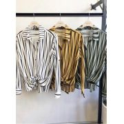 Camisa Celine Viscose Listras Cores Mostarda, Off White e Verde Militar