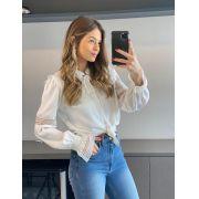 Camisa Daniela Crepe Detalhe em Renda e Babado