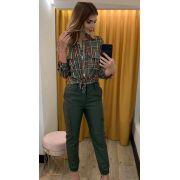 Camisa Eleonor Xadrez Viscose Cores Rose e Militar