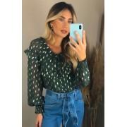 Camisa Estela Voil Chiffon Foil Dourado +Regata