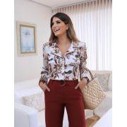 Camisa Larissa  Satin (Crepe Acetinado) Floral