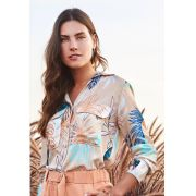 Camisa Lorena Crepe Print Rustic Folhagem