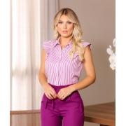 Camisa Olga Tricoline 3% Elastano Listras Detalhe Botões