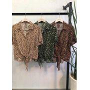Camisa Olivia Crepe Animalprint Cores Nude, Marrom e Militar