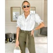 Camisa Lygia Tricoline 3% Elastano Detalhe Bordado em Renda de algodão