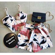 Conjunto Beatriz Cropped & Shorts alfaiataria