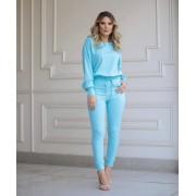 Conjunto Morina Crepe  4% Elastano Azul Claro
