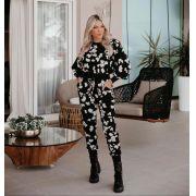 Conjunto Morina Moletinho Floral acompanha Mascara (calça e Blusa)