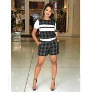 Conjunto  NUxx Cristiane Moletinho Xadrez Shorts cores :off white e preto