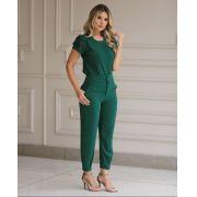 Conjunto Patricia  Crepe Detalhe em Renda (Calça e Blusa)