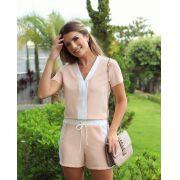 Conjunto Sara Crepe Bicolor Blusa e Shorts Cores Rose e Marinho