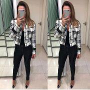 Jaqueta  Cecilia Tweed P&P  Cores Preta e Off