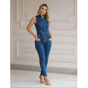 Macacão Helena Jeans 2% Elastano
