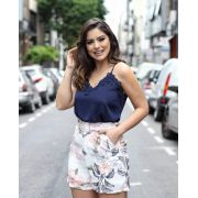 Regata Camila Crepe Detalhe Guipir Cores Marinho, Off, Rose e Lilas