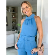 Regata Fernanda Viscose Rayon Twill Detalhe Gola Fluida