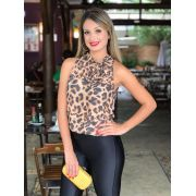 Regata Rebeca Animalprint Gola Laço Crepe