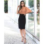 Saia Fernanda Midi Veludo + Cinto
