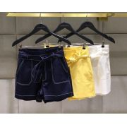 Shorts Amanda Alfaiataria Detalhe pesponto Cores Amarelo, Off e Marinho 3% Elastano