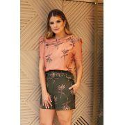 Shorts Antonella Alfaiataria Crepe Floral 5%Elastano