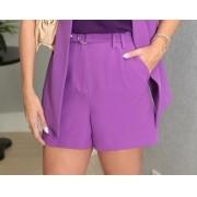 Shorts Ariane Alfaiataria 5 % Elastano C/ Cinto (Forro) Detalhe Pregas