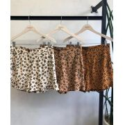 Shorts Bella Viscolinho  cores: marron, telha e areia