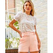 Shorts Doris Crepe C/Bolso Faca e Cinto (Forrado)