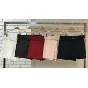 Shorts  Fianco Alfaiataria 3%elastano  Cinto Forrado   Cores Nude, Preto, Cognhac e Off