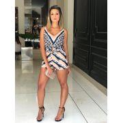 Shorts Magda  Alfaiataria Crepe Print 5% Elastano