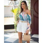 Shorts  Marcela  Sarja  Alfaitaria  3% Elastano  C/ Cinto