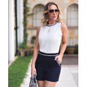 Shorts Nicole Alfaiataria Detalhe Vivo 3% Elastano
