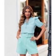 Shorts Patricia Alfaiataria  Crepe Fivela Forrada 5% Elastano