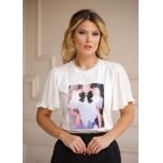 T-Shirt Clara Manga Plissada