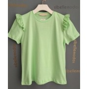 T-Shirt Esmeral 100% Algodão Babado Laise