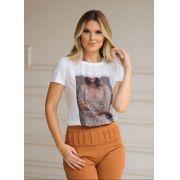 T-Shirt Nuxx Viscolycra Crepe Estampa Vestido Prata