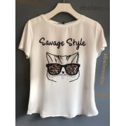 T-shirt Savage Bordada Detalhe animalprint
