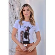 T-Shirt Vogue Viscolycra Estampa   Jaqueta Bordada