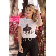 T-Shirt Vogue Viscolycra Estampa  Saia Tule