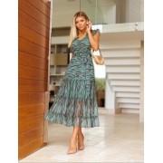 Vestido Alana Crepe Estampa animal Com faixa