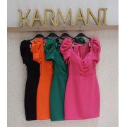 Vestido Karmani Crepe Alfaiataria Manga Bufante e Cinto