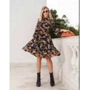 Vestido Alice Crepe Floral Detalhe Babados C/Faixa